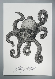 Urbanomic Limited Edition Print of China Miéville's Skulltopus Drawing