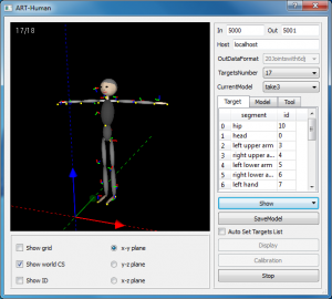 The motion capture application ART-human in action.