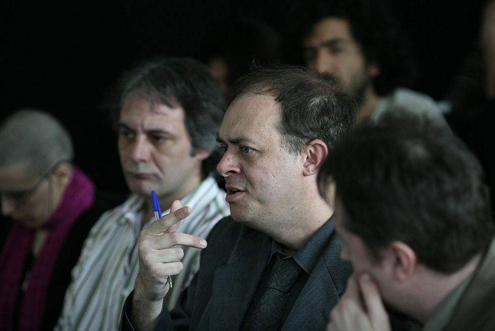 Urbanomic Events: Speculative Realism, Goldsmiths, London, 27 April 2007 - Iain Hamilton Grant, Graham Harman, Quentin Meillassoux (photo: Peter Hallward)