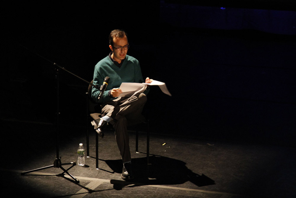 Reza Negarestani during the event 'The Non-Trivial Goat and the Cliffs of the Universal' at Abrons Playhouse, November 15 2012
