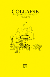 'Collapse volume 7: Culinary Materialism' (reissued edition), published by Urbanomic